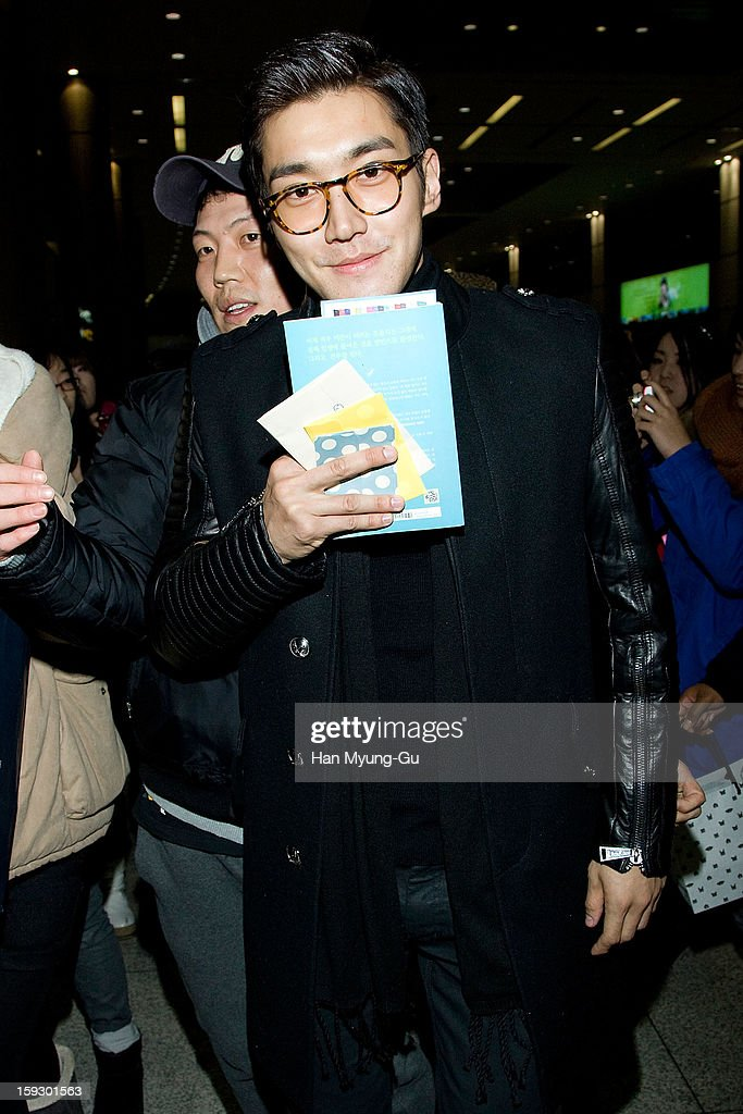 Siwon (Choi Si-Won) of South Korean boy band Super Junior is seen at Incheon International Airport on January 10, 2013 in Incheon, South Korea.
