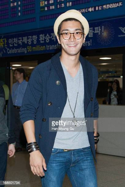 Siwon of South Korean boy band Super Junior is seen upon arrival at Incheon International Airport on May 10 2013 in Incheon South Korea