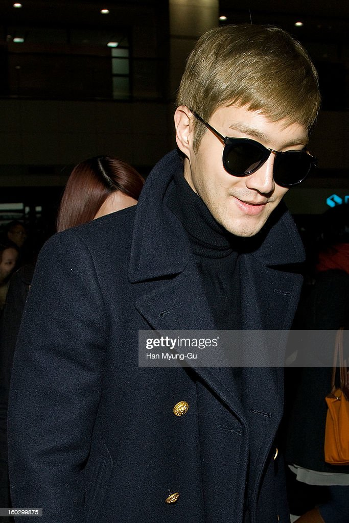 Siwon (Choi Si-Won) of Super Junior M is seen at Incheon International Airport on January 28, 2013 in Incheon, South Korea.