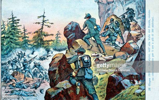 Six Alpine artillerymen in the high valley of the Brenta resisted for 5 hours fighting against more than 200 Austrians and they won June 28 1915...