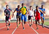 Six athletes running on race track