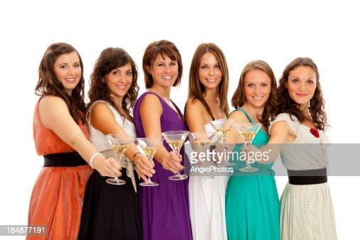 Six beautiful ladies with champagne : Stock Photo