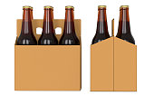 Six brown beer bottles in white corton pack. Side view and front view. 3D render, isolated on white background