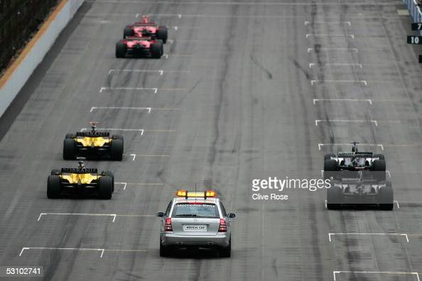 Six cars line up for the start of the United States F1 Grand Prix at the Indianapolis Motor Speedway on June 19 2005 in Indianapolis Indiana