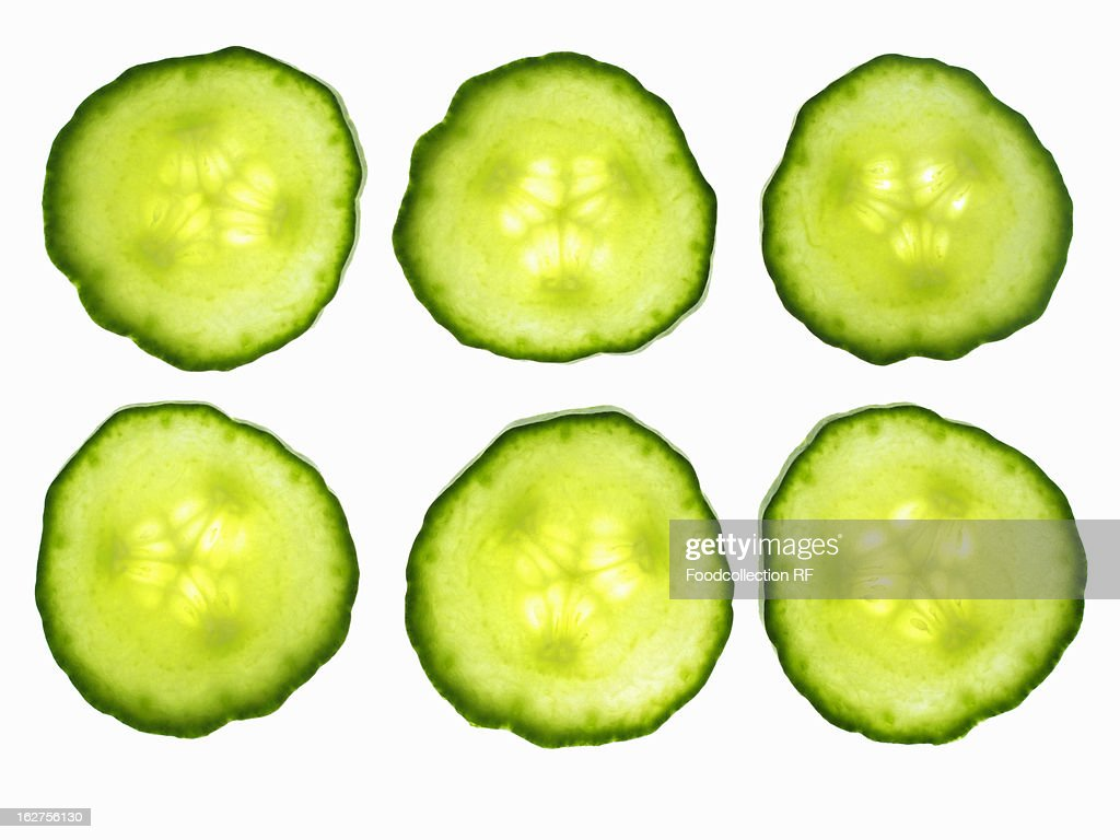 Six cucumber slices : Stock Photo