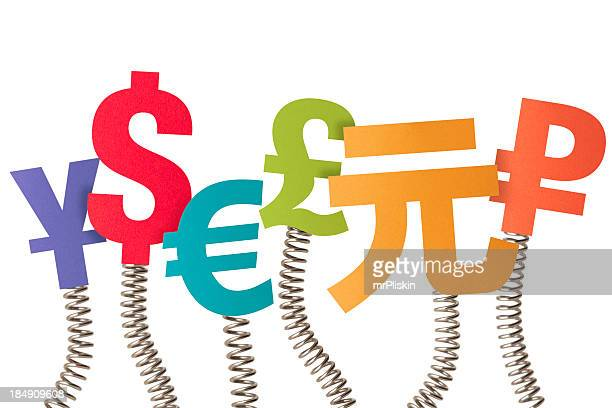 Six currency symbols on bouncing springs