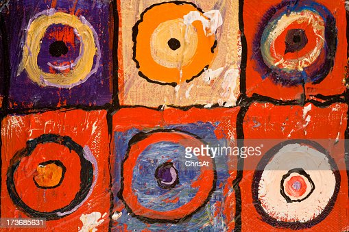 Six different paint depictions of a bulls-eye