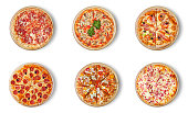Six different pizza set for menu. Italian food traditional cuisine. 1) Meat pizzas with  salami 2) seafood 3) ham 4)pepperoni 5) barbecue 6) flaming pie.  Visit my page. You will be able to find an im