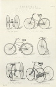 Six early forms of bicycles and tricycles 19th century The cycles shown are the Otto Dicycle the Rover Safety Singer's Special Safety the King of...