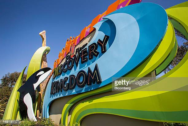 Six Flags Discovery Kingdom signage stands outside of the amusement park in Vallejo California US on Monday July 2012 Six Flags Entertainment Corp an...