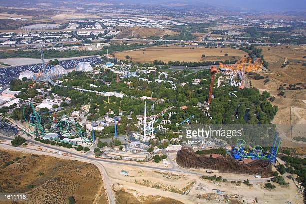 Six Flags Magic Mountain seen here from the air debuts the roller coaster 'Deja Vu' August 27 2001 in Valencia CA Deja Vu is billed as the world''s...