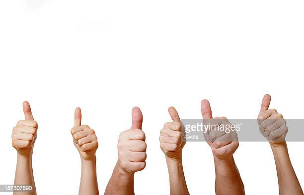 Six hands giving thumbs up on a white background