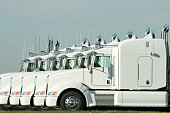 Six identical white semi trucks parked together