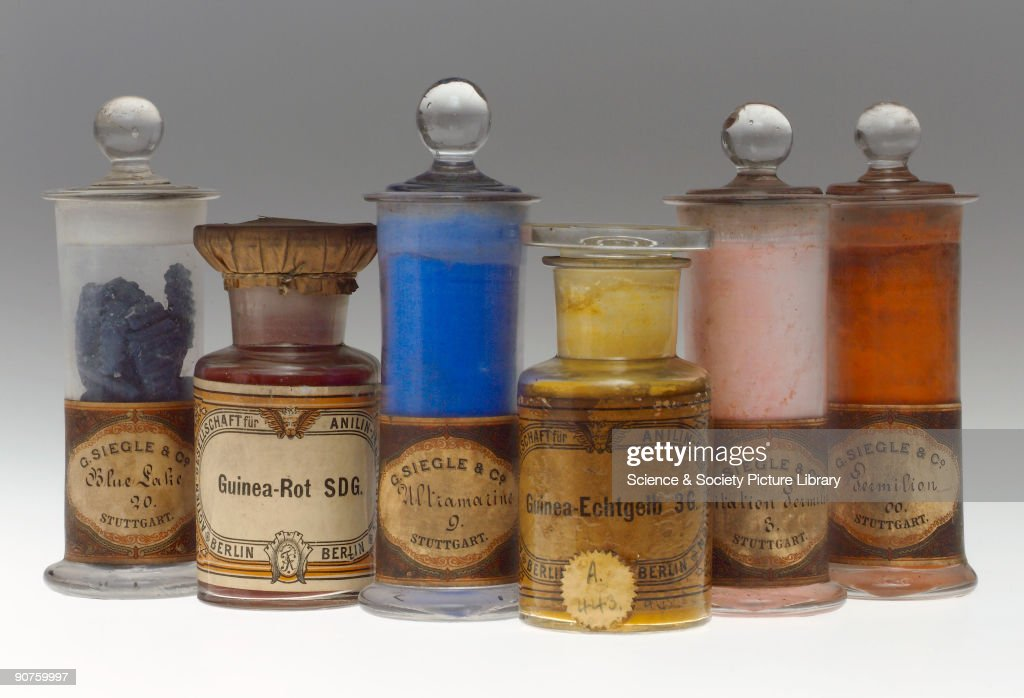 Six jars containing synthetic colorants. Blue Lilac 20 manufactured by G. Siegle & Co. of Stuttgart; Guinea-Rot (red) SDG by Actien Gesellschaft für Anilin Fabrikation, Berlin, Germany (Agfa); Ultramarine 9 by Siegle; Guinea Echtgelb 3G by Agfa; Imitation Vermilion 3 by Siegle; Vermilion 00 by Siegle. The Guinea dyes were introduced by Agfa in the early 1880s. Ultramarine (blue) and Vermillion (red) are traditional pigments. Ultramarine is a natural blue mineral which is rare but ultramarine has been made synthetic since the early nineteenth century. Vermilion is a red form of mercury (II) sulfide (as in the ore cinnabar). The Aktien Gesellschaft für Anilin Fabrikation was founded in 1873 by Carl Martius and Paul Mendelssohn-Bartholdy (the nephew of the composer), became part of I.G. Farbenindustrie AG in 1925 and a subsidiary of Farbenfabriken Bayer AG in 1952. In 1873 the Stuttgart firm Heinrich Siegle was acquired by BASF. In 1889 Gustav Siegle (the son of Heinrich Siegle) bought the buildings back and started the production of mineral pigments and lacquers. Part of a collection of late nineteenth and early twentieth century colorants transferred from the Colour Museum, Bradford, in 1985.
