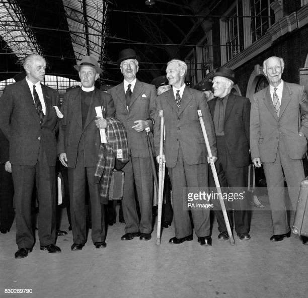 Six men who won the Victoria Cross at the Battle of the Somme during the First World War are pictured at Victoria Station London when they left for...