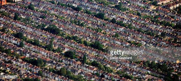 Six miles South East of central London is the terraced housing of Catford in this aerial photo taken on 25th July 2006