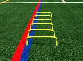 six inch yellow mini hurdles are set up on a green turf field for speed and agility practice.