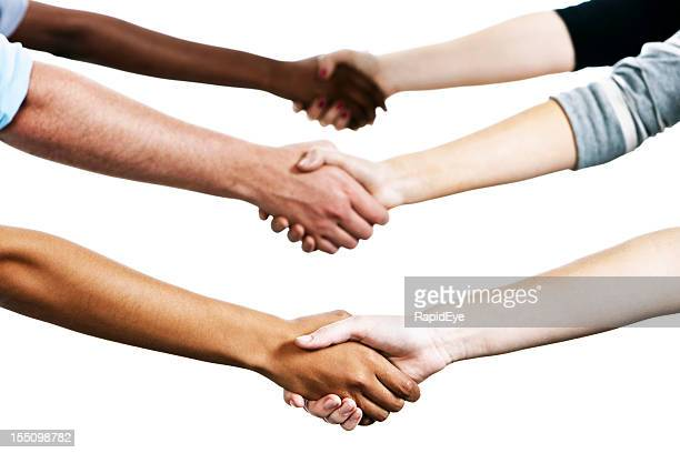 Six mixed people shake hands against white