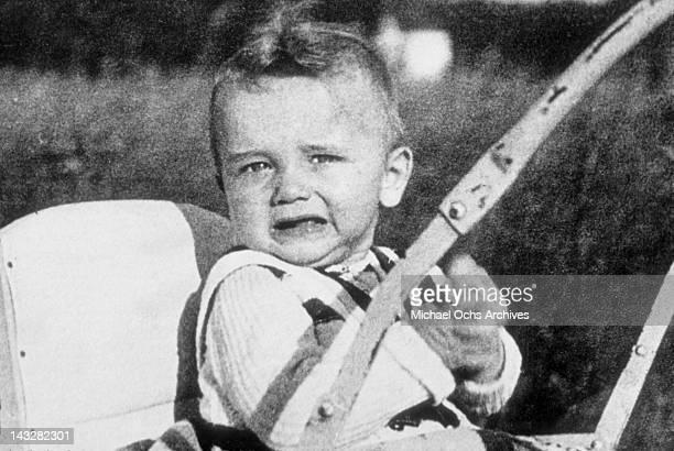 Six month old Arnold Schwarzenegger in the garden in March 1948 in Thal Austria