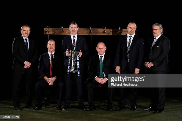 Six nations head coaches Jacques Brunel of Italy Stuart Lancaster of England Rob Howley of Wales Declan Kidney of Ireland Philippe Saint Andre of...