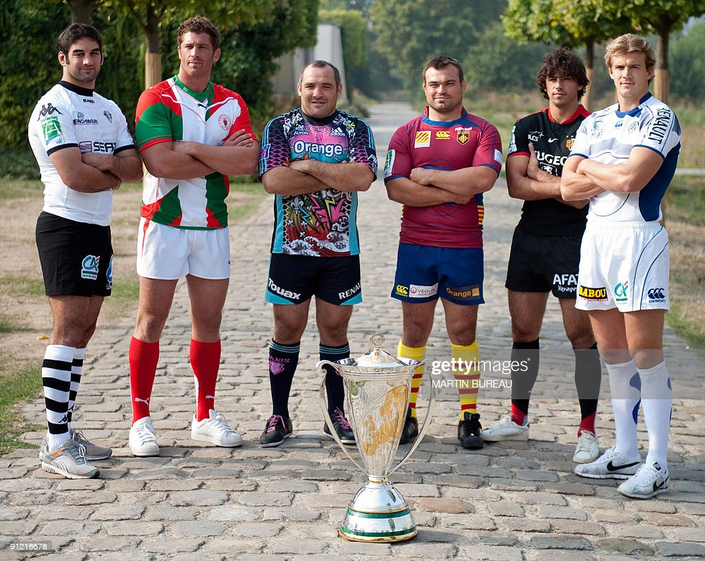 Six of the captains who will lead their teams into next months Heineken Cup Brive's Simon Azoulai Biarritz's Jerome Thion Stade Francais' Rodrigo...