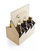 eco cardboard six pack beer isolated on white background with clipping path