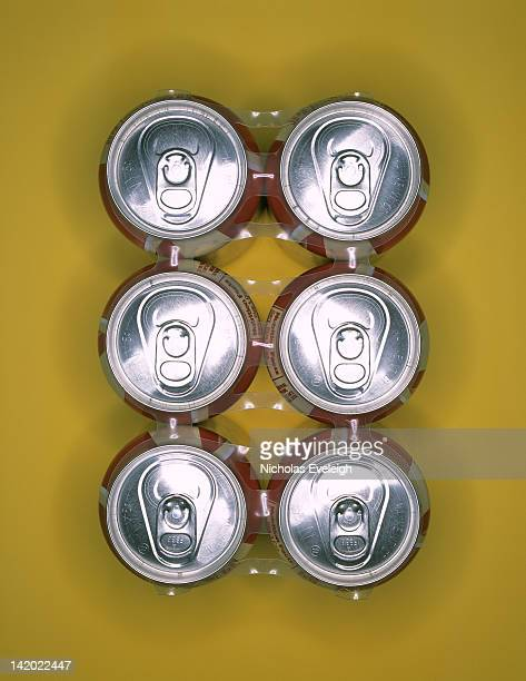 Six pack of aluminum cans