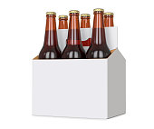 Six pack of Brown beer bottles in blank carrier. 3D render, isolated isolated over a white background