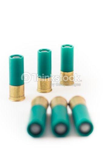 six round of double 00 shotgun buck shot cartridges stock photo