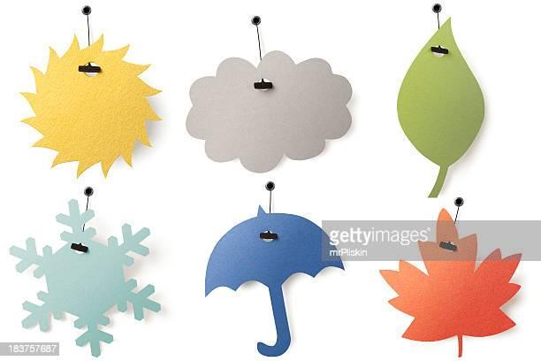 Six saison étiquettes tags-printemps, été, automne, hiver