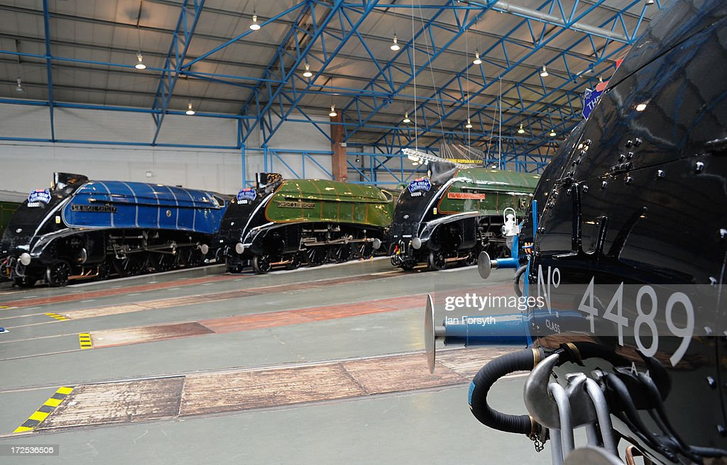Six steam locomotives come together for the first time at the National Railway Museum on July 3, 2013 in York, England. The National Railway Museum's 'Great Gathering' marks 75 years since the world's fastest steam locomotive, Mallard, made its world record breaking run in 1938, and reunites the locomotive with its five sister locomotives, the Sir Nigel Gresley, Dwight D Eisenhower, Union of South Africa, Bittern, Mallard and the Dominion of Canada