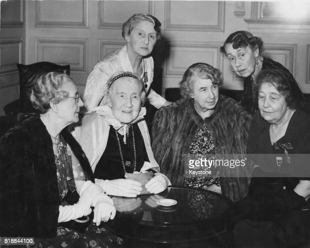 Six suffragettes attend a party to celebrate the golden wedding of Lord and Lady PethickLawrence pioneers of the Women's Suffrage movement UK 2nd...