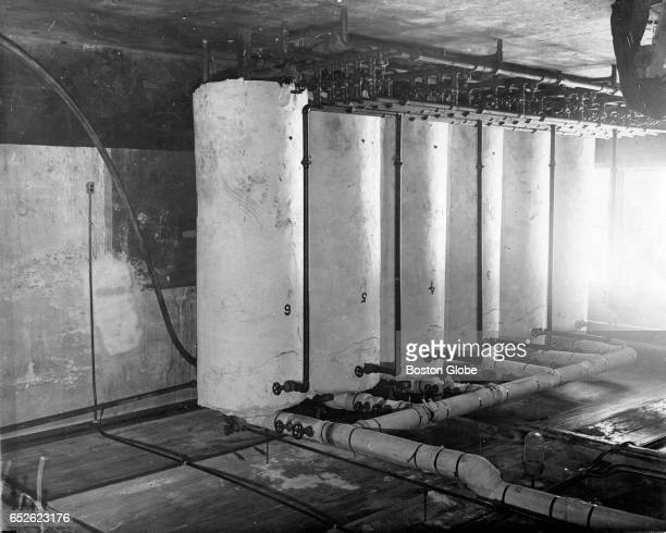 Six super heating tanks used in heating the booze at the Woburn 'Pill Box' June 1932 After the longest drawn out liquor raid in the history of...