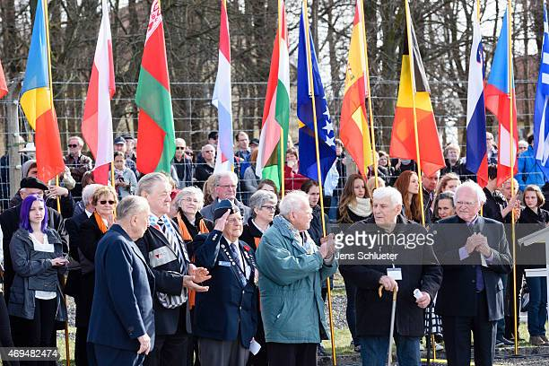 Six survivors renew the socalled buchenwald oath from 19th of april 1945 during the ceremonies marking the 70th anniversary of the camp's liberation...