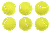 Close up macro shot of every tennis ball with highest possible level of details. Real professional sport equipment.