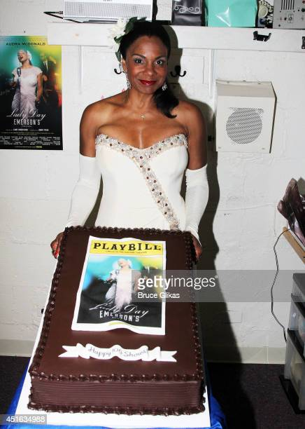 Six Time Tony Award Winner Audra McDonald as 'Billie Holiday' poses backstage at the 'Lady Day At Emerson's Bar And Grill' 100th performance...