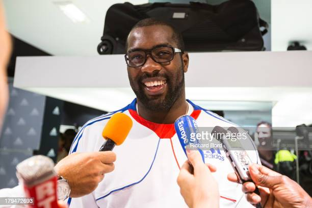 Six times Judo World Champion Teddy Riner of France speaks to the media at Adidas Performance Store ChampsElysees on September 4 2013 in Paris France