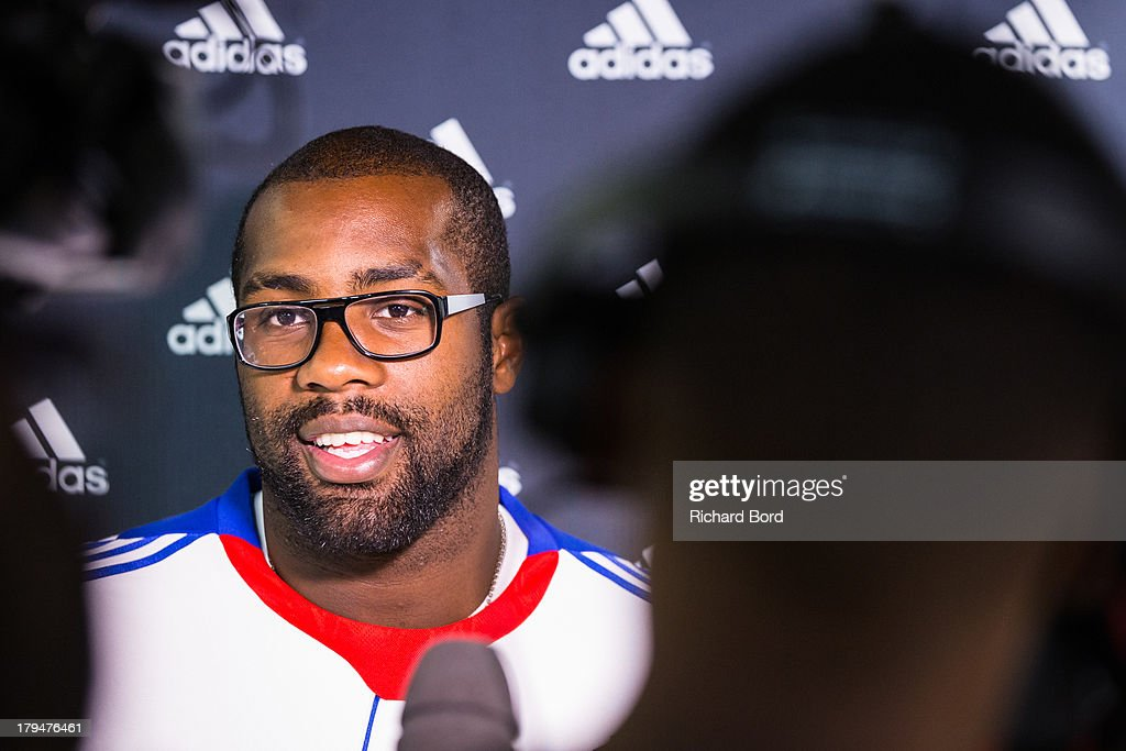 Six times Judo World Champion <a gi-track='captionPersonalityLinkClicked' href=/galleries/search?phrase=Teddy+Riner&family=editorial&specificpeople=4114927 ng-click='$event.stopPropagation()'>Teddy Riner</a> of France speaks to the media at Adidas Performance Store Champs-Elysees on September 4, 2013 in Paris, France.