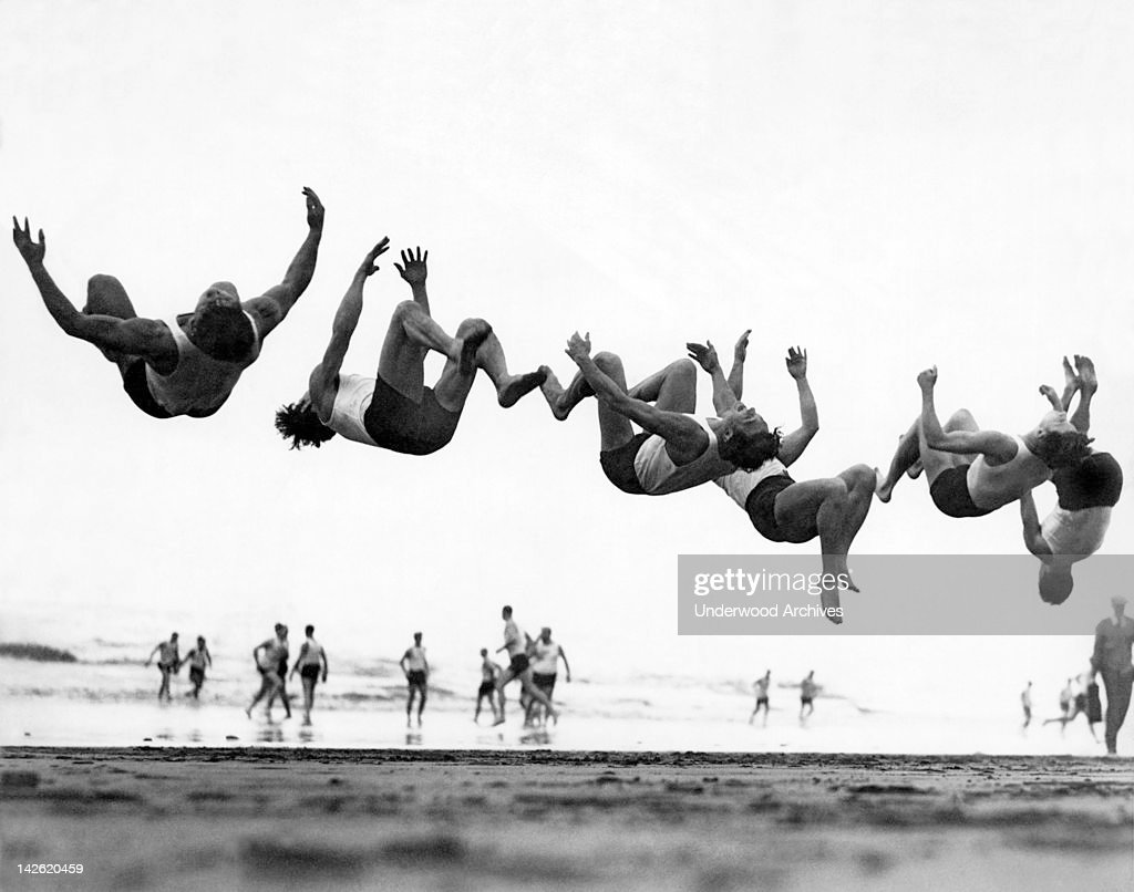 six men doing beach flips pictures getty images