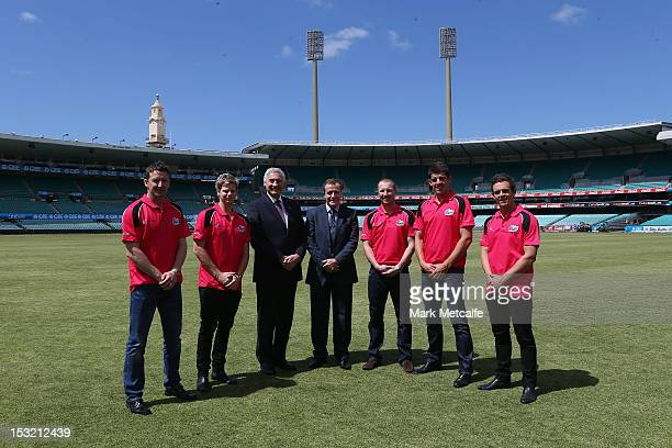 Sixers Coach Corey Richards Steve Smith Minister George Souris Minister Graham Annesley Brad Haddin Moises Henriques and Stephen O'Keefe pose during...