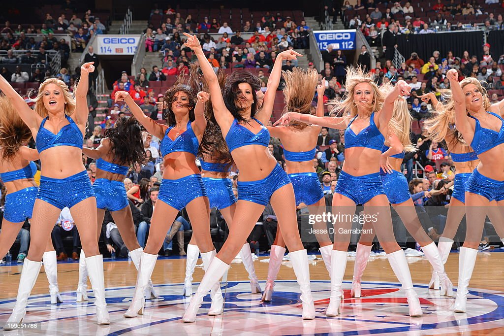 Sixers Dream Team performs during the game against the New Orleans Hornets at the Wells Fargo Center on January 15, 2013 in Philadelphia, Pennsylvania.