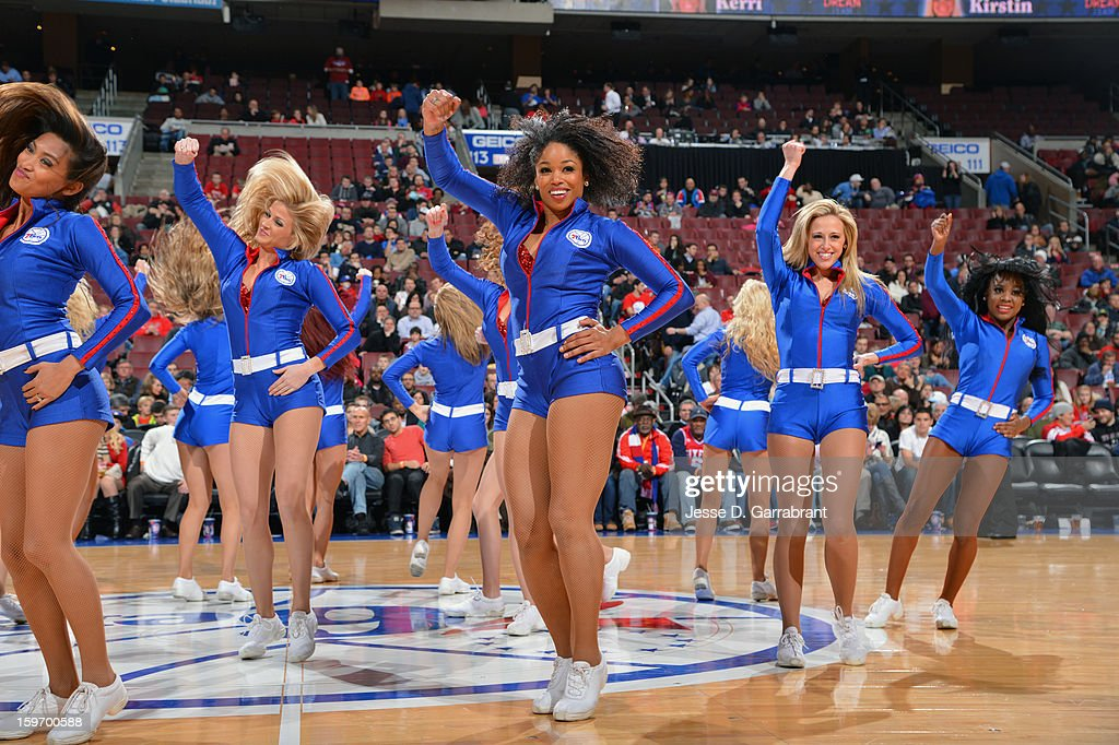 Sixers Dream Team performs during the game against the Toronto Raptors at the Wells Fargo Center on January 18, 2013 in Philadelphia, Pennsylvania.