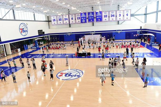 Sixers NBA Star Markelle Fultz helps children learn basketball skills during the Julius Erving Youth Basketball Clinic on September 9 2017 at the...