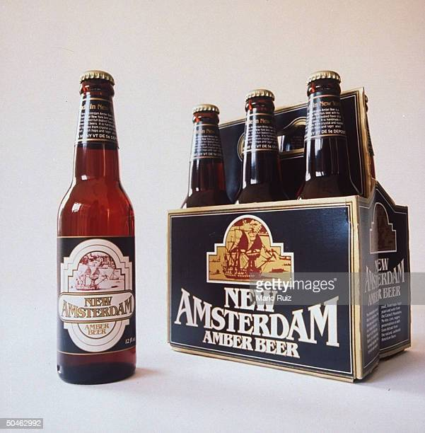 A sixpack and bottle of New Amsterdam Amber Beer