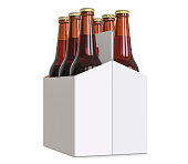 Six-pack cardboard carrier bottles of beer. 3D render, isolated on white background