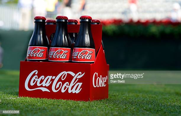 A sixpack of CocaCola bottles are used as a tee box marker on the 18th hole during the second round of the TOUR Championship by CocaCola the final...