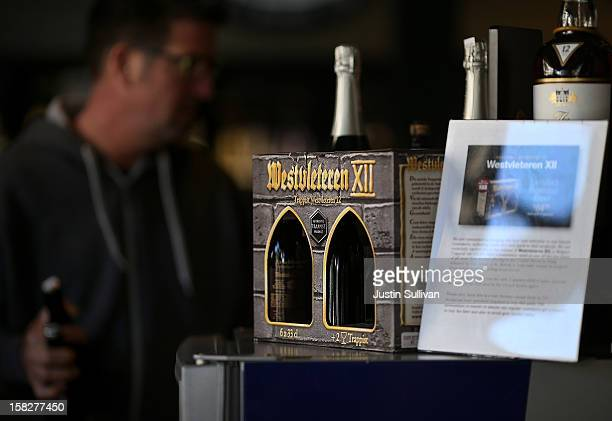 A sixpack of Westvleteren 12 is displayed at Ales Unlimited on December 12 2012 in San Francisco California Beer connoisseurs across the United...