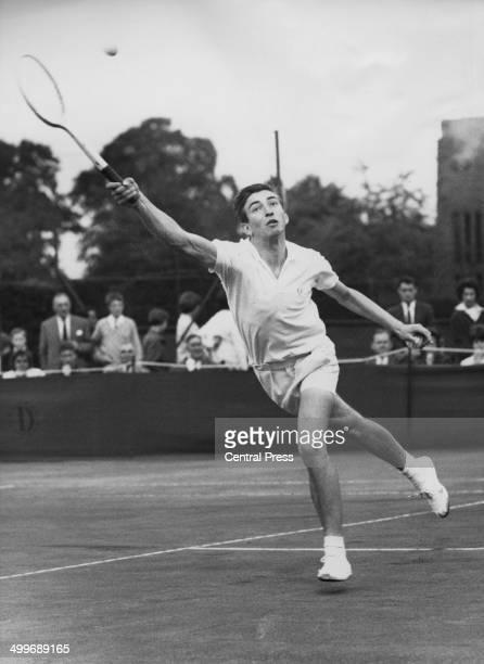 Sixteen yearold English tennis player Stanley Matthews competing against GR Stillwell in the Wimbledon Boys' Championship Wimbledon London 15th...