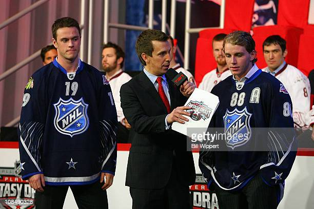 Sixtenth pick Jonathan Toews and Patrick Kane of the Chicago Blackhawks talk to James Duthie after Toews was selected for team Lidstrom during the...