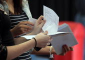 Sixth Form students react as they open their Alevel results at Hayesfield Girls' School on August 19 2010 in Bath England Thousands of students are...
